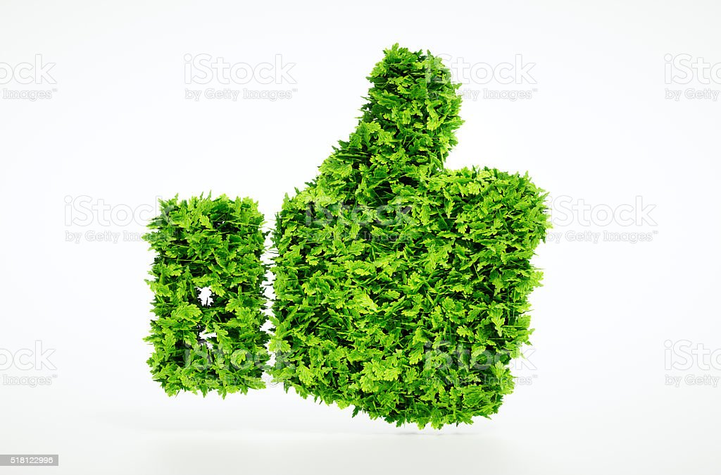 Eco friendly thumbs up stock photo