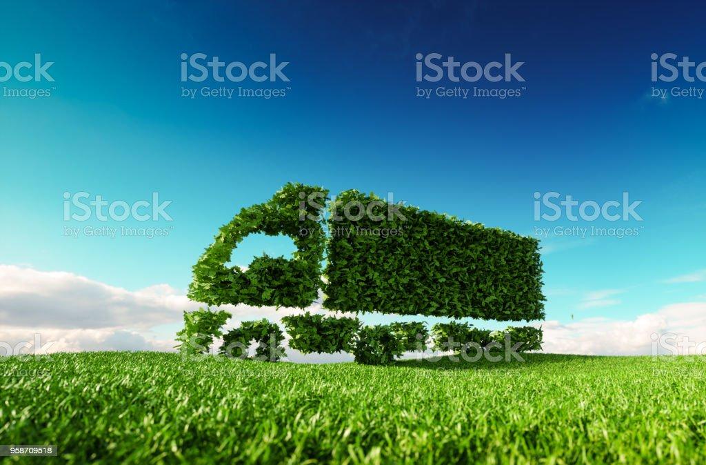 Eco-freundliche Transport-Konzept. 3D-Rendering des grünen grünen Lastwagen-Symbol auf frische Frühlingswiese mit blauen Himmel im Hintergrund. – Foto