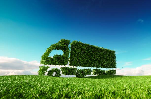 Concepto de transporte amigable de eco. Render 3D de icono de camión verde verde prado de fresca primavera con cielo azul de fondo. - foto de stock