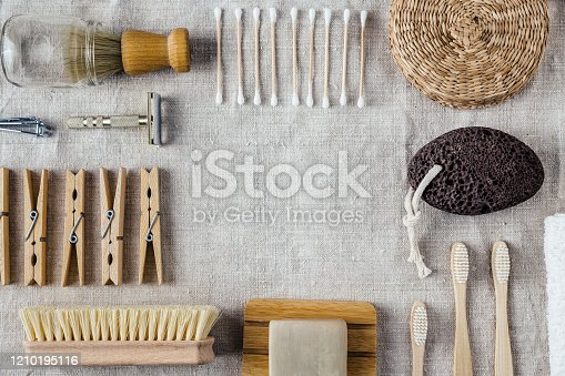 1169442288 istock photo Eco friendly washin accessories on natural background with copy space 1210195116