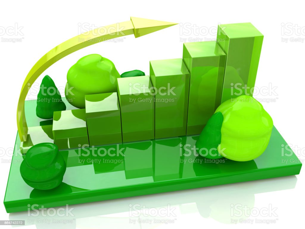 eco graph chart illustration design on white background in the design of access to information relating to the environment. 3d illustration stock photo