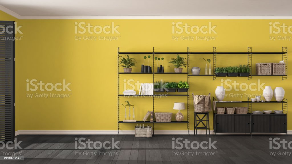 Eco Gray And Yellow Interior Design With Wooden Bookshelf Diy Vertical Garden Storage Shelving Living Room Background Stock Photo Download Image Now Istock