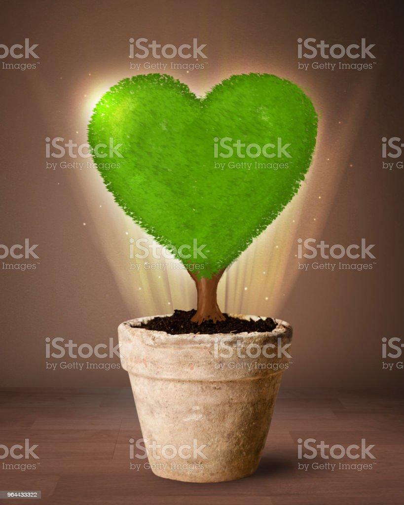 Eco hart boom uit bloempot voortvloeiende - Royalty-free Aardewerk Stockfoto