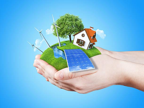 Eco house. Green energy concept. stock photo