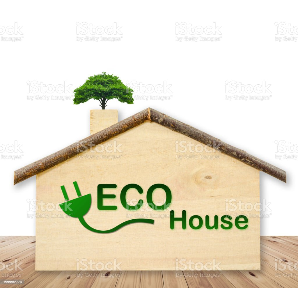 Eco house with small tree stock photo
