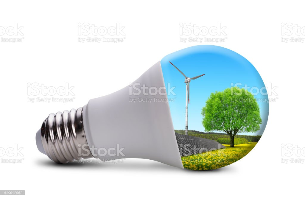 Eco Led Light Bulb With Solar Panel And Wind Turbine Stock Photo
