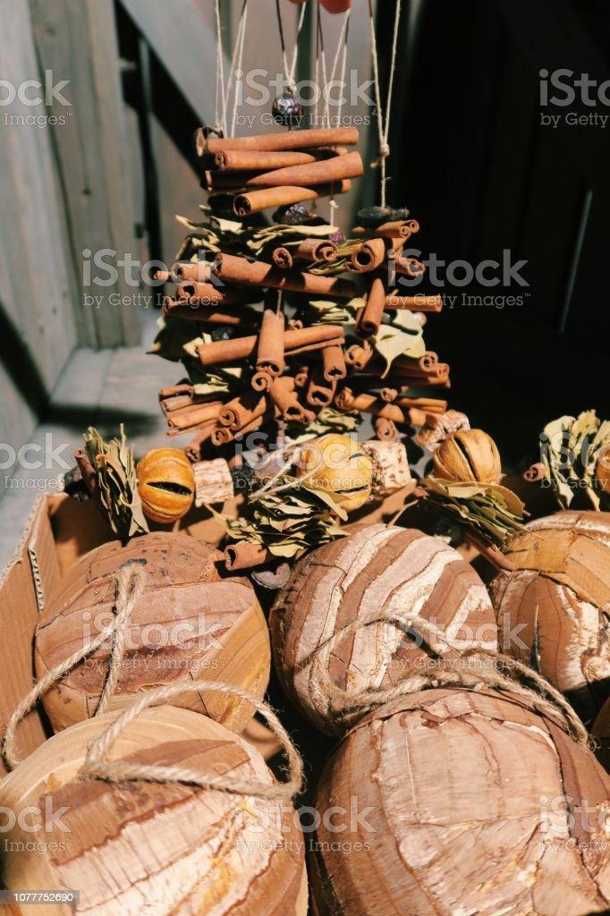 Eco Natural Handmade Wooden Tree Bark Christmas Tree Ornaments Stock Photo Download Image Now Istock