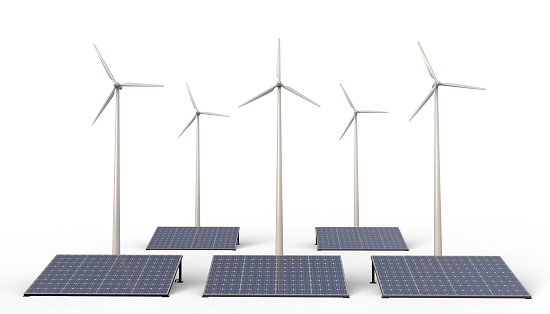 istock Eco power , Renewable energy , Wind turbine farm and solar cell panels isolated on white Background - 3D rendering 1147850941