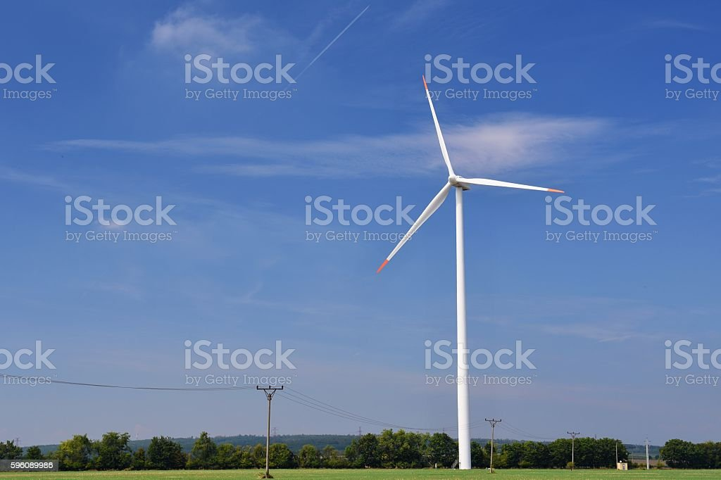 Eco power. Wind Turbine for alternative energy. royalty-free stock photo