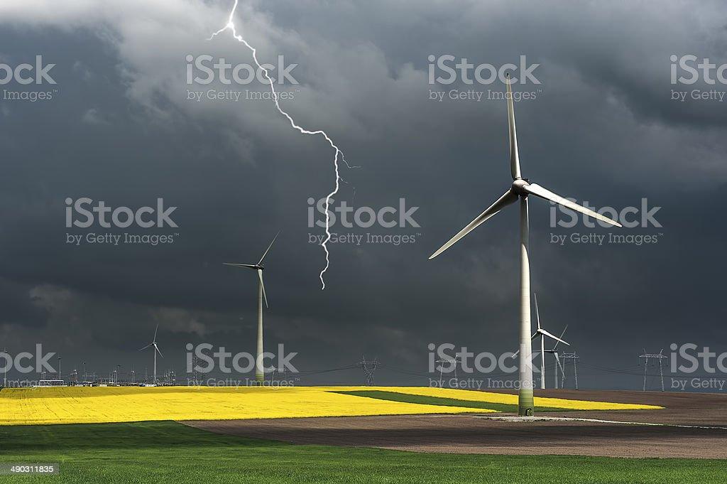 Eco power, wind turbines stock photo