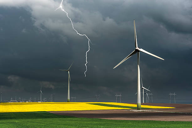 Eco power, wind turbines stock photo