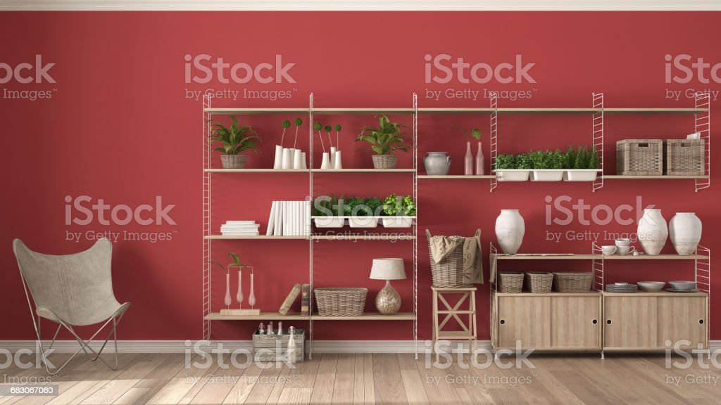 Eco Red Interior Design With Wooden Bookshelf Diy Vertical