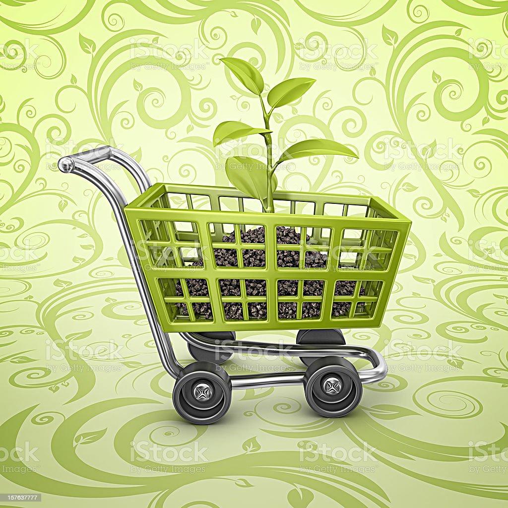 eco shopping cart royalty-free stock photo
