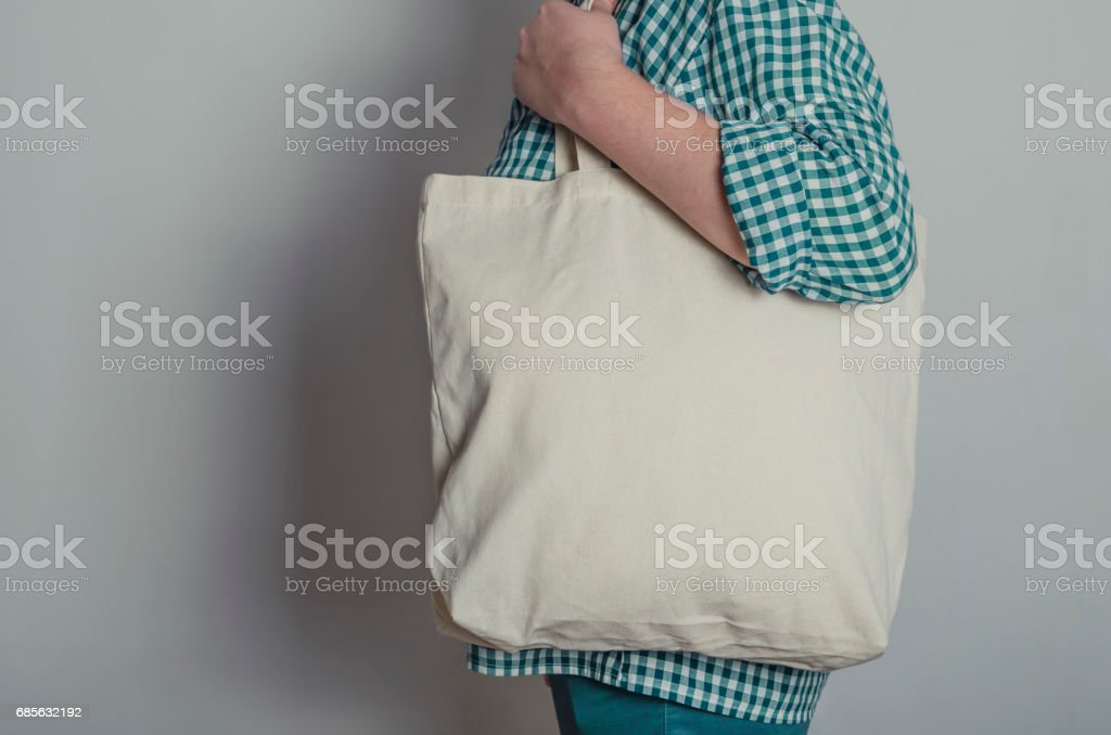 Eco shopping cotton tote bag royalty-free stock photo