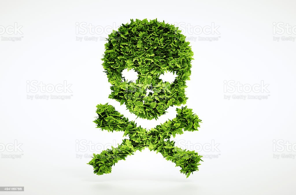 Eco skull and cross bones sign stock photo
