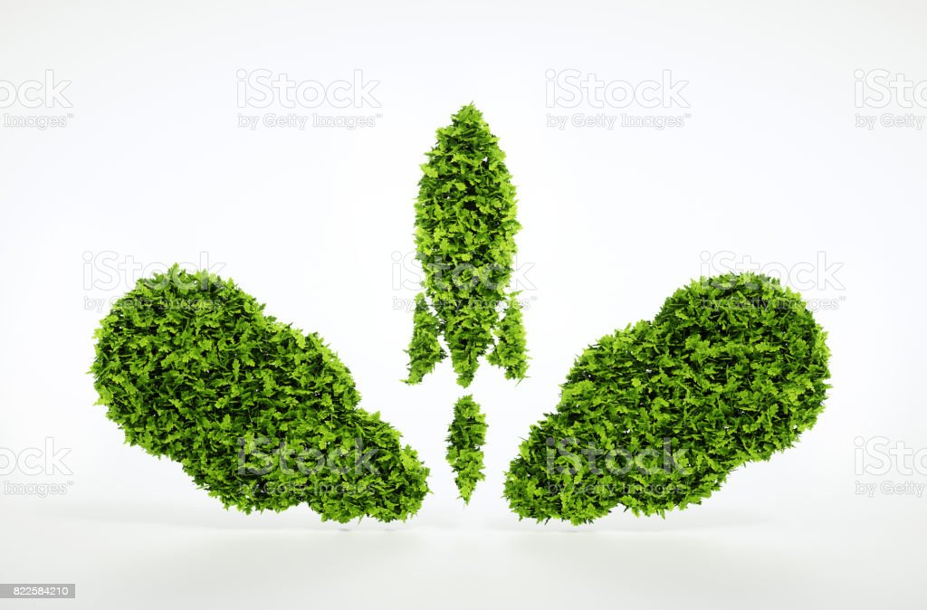 Eco startup concept isolated on white. 3d illustration stock photo