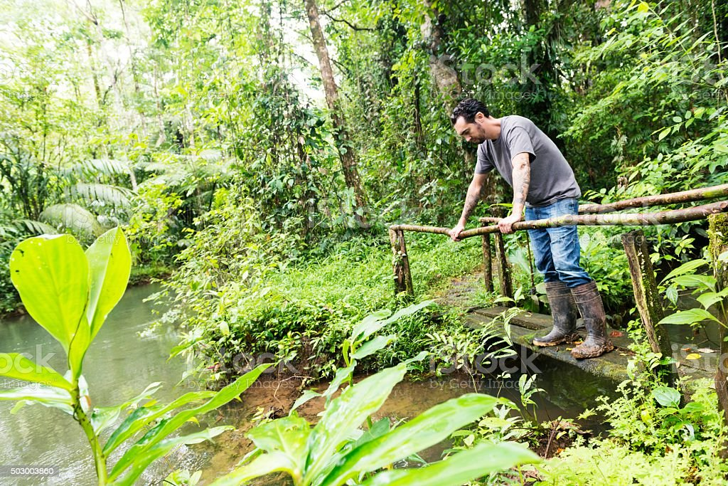 Eco Tourist Exploring Costa Rica Rainforest Jungle Travel Destinations stock photo