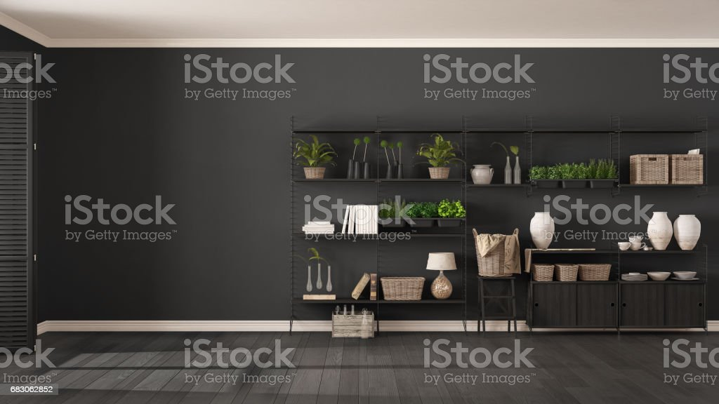 Eco white and gray interior design with wooden bookshelf, diy vertical garden storage shelving, living room background foto de stock royalty-free