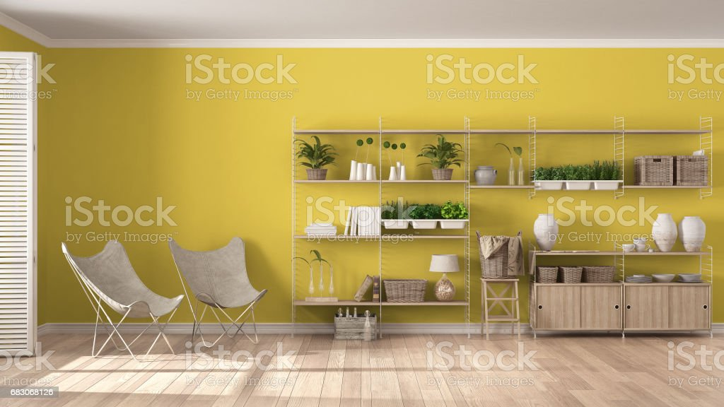 Eco white and yellow interior design with wooden bookshelf, diy vertical garden storage shelving, living, lounge relax area with armchairs foto de stock royalty-free