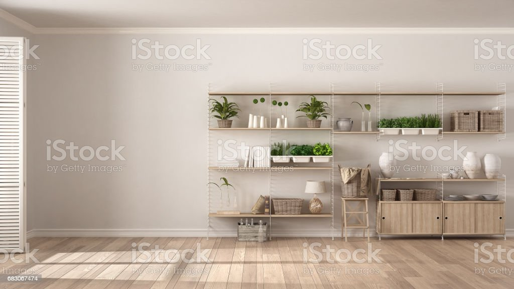 Eco white interior design with wooden bookshelf, diy vertical garden storage shelving, living room background foto de stock royalty-free