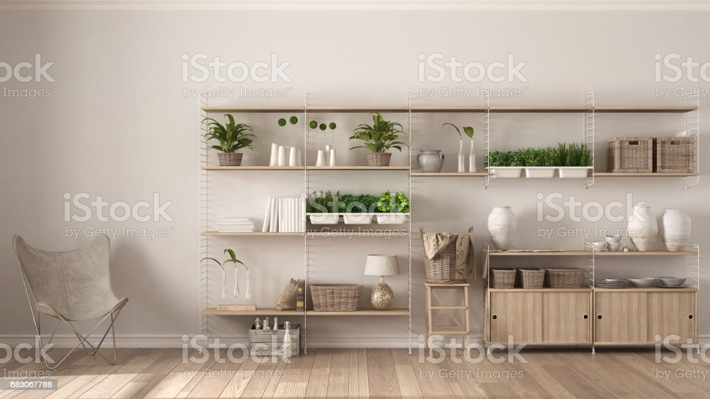 Eco white interior design with wooden bookshelf, diy vertical garden...