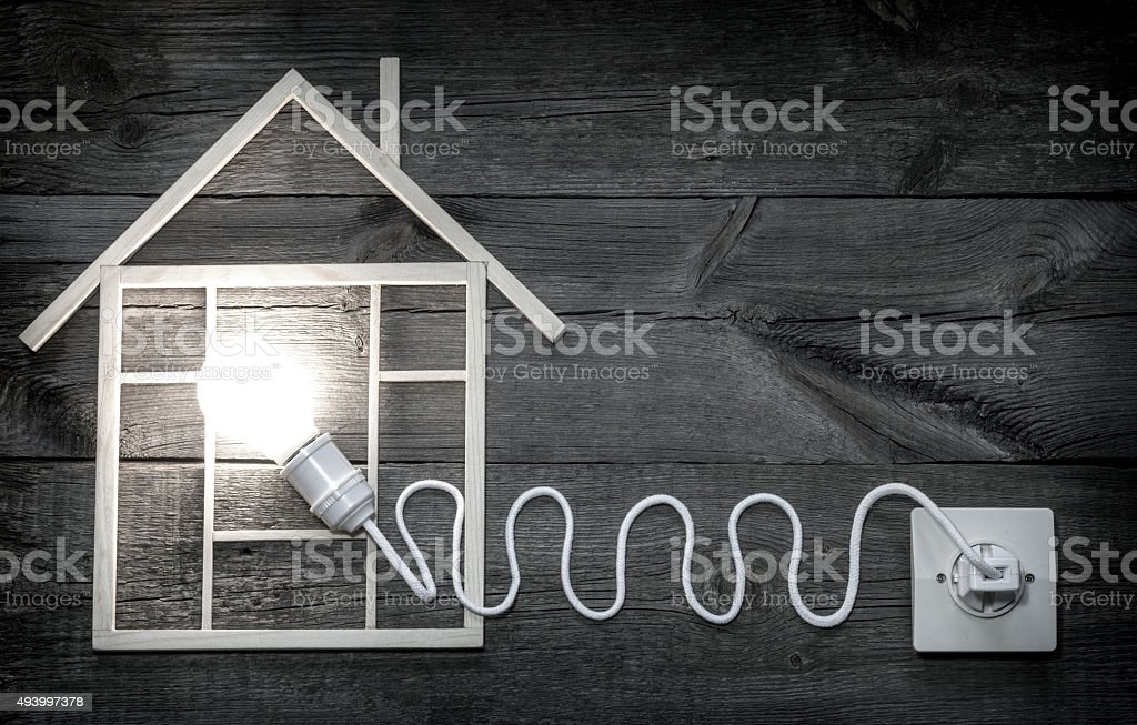 Eco wooden home construction abstract sign symbol metaphor stock photo