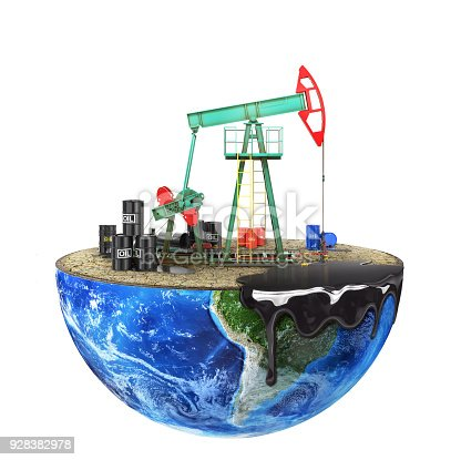 istock Eco-concept. Oil pump on a cut planet isolated on a white background. The concept of natural resource extraction. 928382978