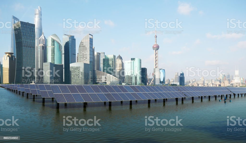 Eco-environmentally friendly green energy of sustainable development of solar power plant with Shanghai skyline royalty-free 스톡 사진