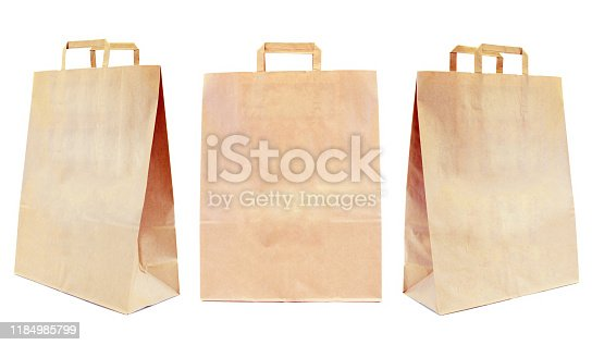Eco-friendly and recyclable brown paper bag for shopping with copy-space