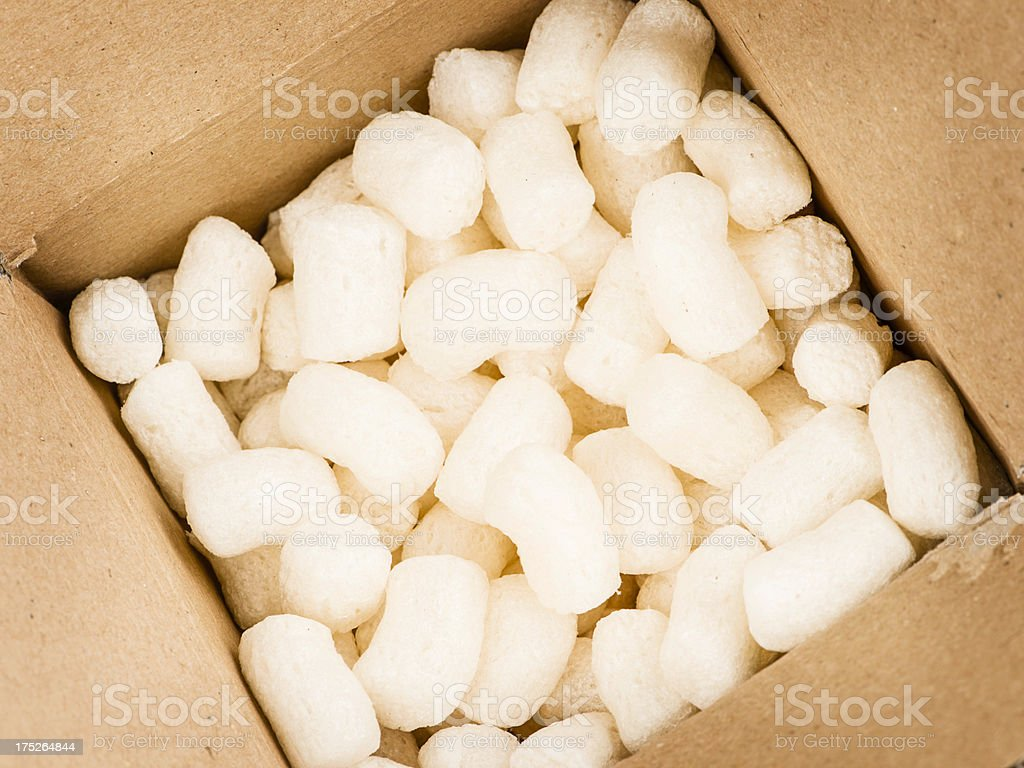 Eco-Friendly Biodegradable Packing Peanuts stock photo