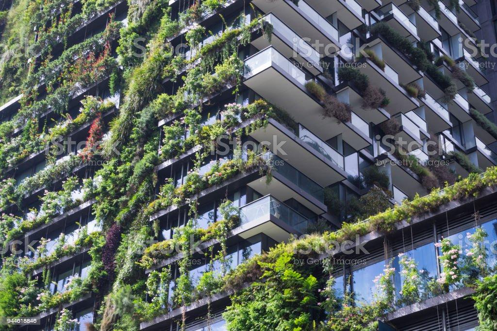 Eco-friendly building exterior stock photo