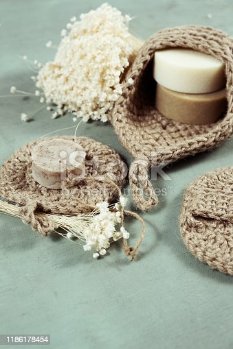 1168256931 istock photo Eco-friendly cleaning kit Organic soap jute washcloth. Zero waste, plastic-free 1186178454