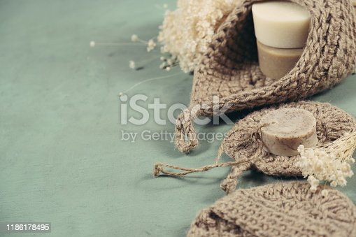 1168256931 istock photo Eco-friendly cleaning kit Organic soap jute washcloth. Zero waste, plastic-free 1186178495