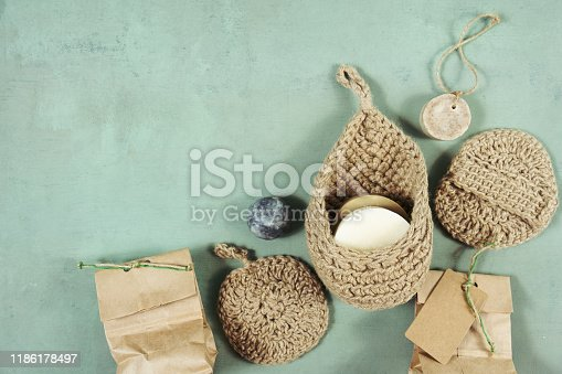 1168256931 istock photo Eco-friendly cleaning kit Organic soap jute washcloth. Zero waste, plastic-free 1186178497