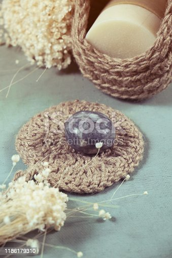 1168256931 istock photo Eco-friendly cleaning kit Organic soap jute washcloth. Zero waste, plastic-free 1186179310