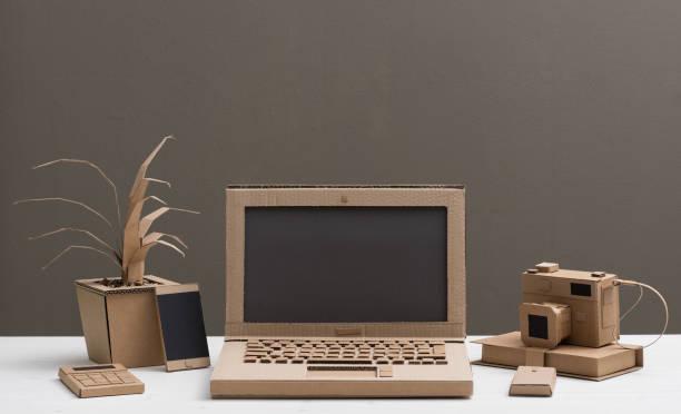 Eco-friendly creative cardboard office stock photo