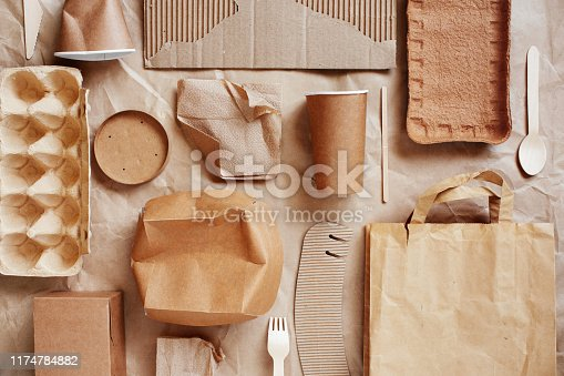Eco-friendly disposable packaging, waste recycling concept, paper and cardboard waste, rubish sort and plastic free lifestyle