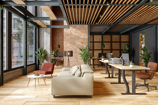 Eco-Friendly Modern Office Interior With Brick Wall, Waiting Area And Indoor Plants.
