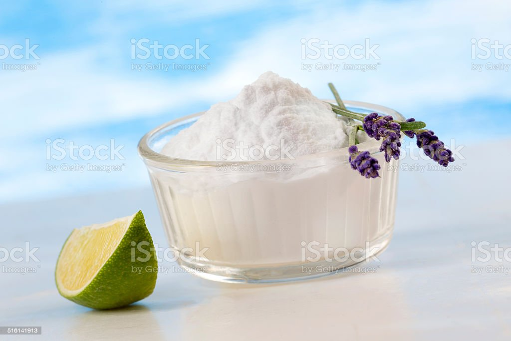 Eco-friendly natural cleaners  aking soda,  lemon and cloth  Ho stock photo