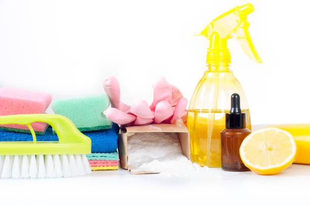 Eco-friendly natural cleaners, cleaning products. Homemade green cleaning on white background. stock photo