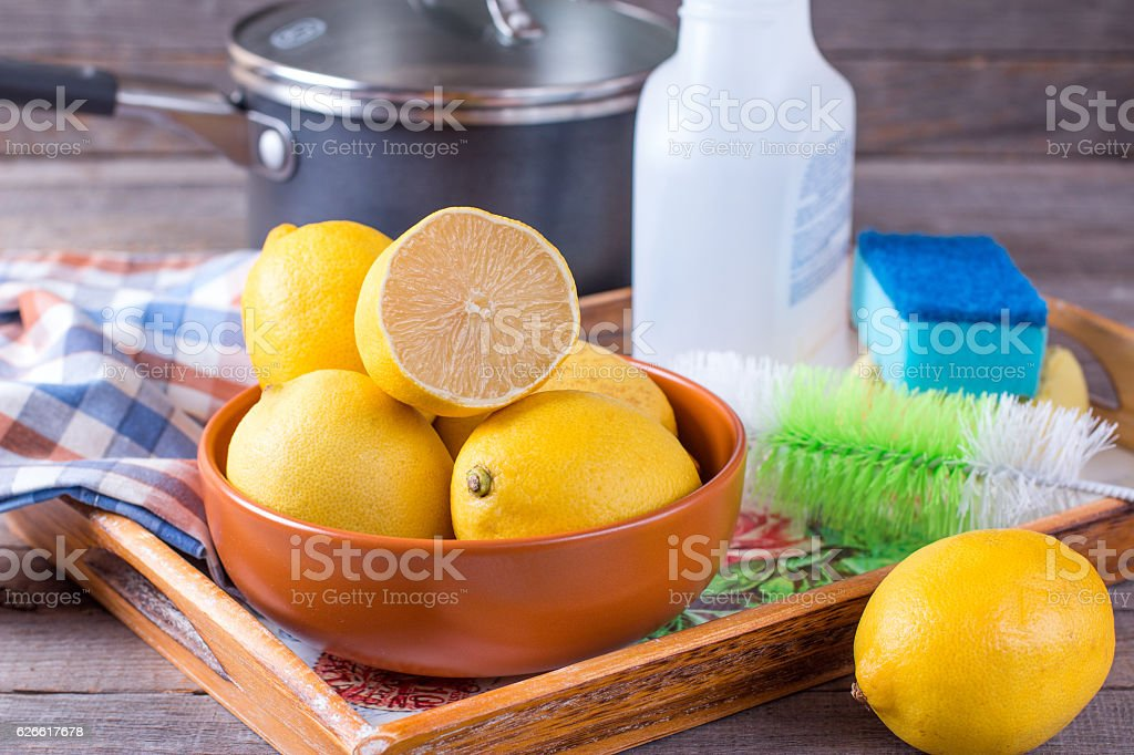 Eco-friendly natural cleaners stock photo