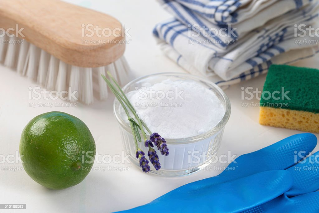 Eco-friendly natural cleaners Vinegar, baking soda,  lemon and stock photo