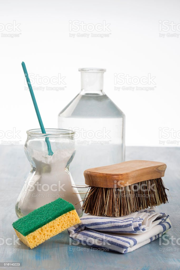 Eco-friendly natural cleaners Vinegar,  sodium bicarbonate and stock photo