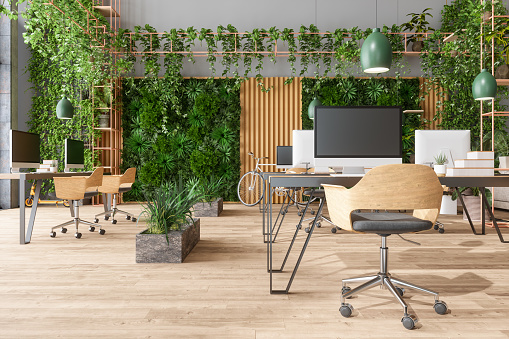 Eco-Friendly Open Plan Modern Office With Tables, Office Chairs, Pendant Lights, Creeper Plants And Vertical Garden Background