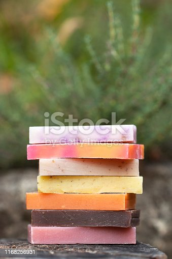 1168256931 istock photo Eco-friendly set of organic soaps on the natural background 1168256931