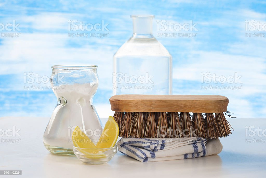 Eco-friendly sodium bicarbonate and brush for cleaning tool stock photo