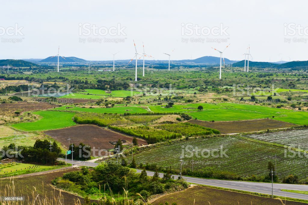 Eco-friendly wind power generation in the wide field. royalty-free stock photo