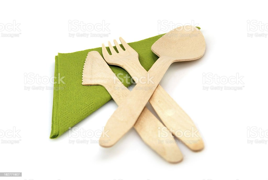 Eco-Friendly Wooden cutlery, biodegradable stock photo