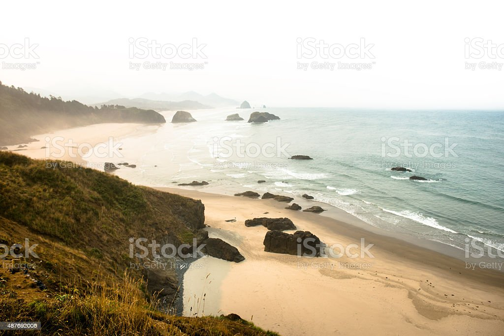 Ecola state park landscape on the Oregon Coastline stock photo