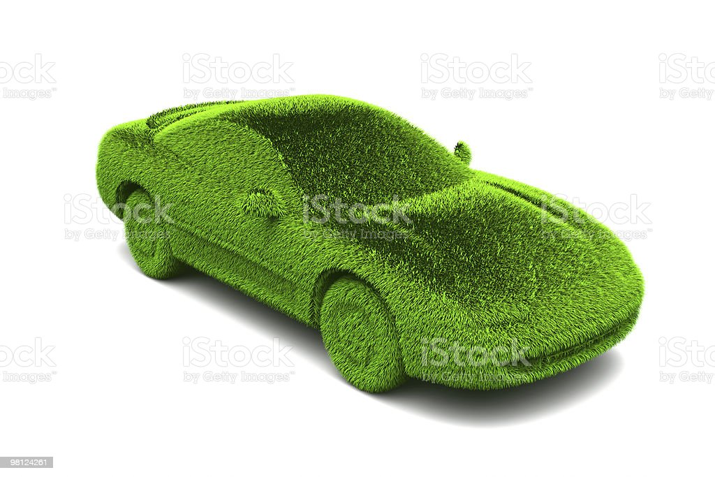 Ecologic green car with grass surface royalty-free stock photo
